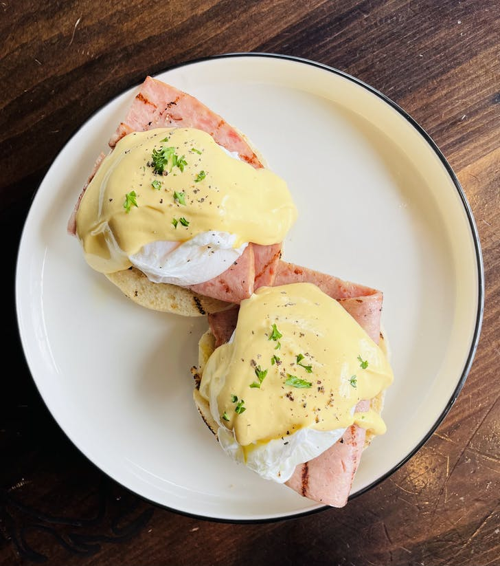 Dr Rudi's delish Eggs Benedict is on the Mother's Day menu.