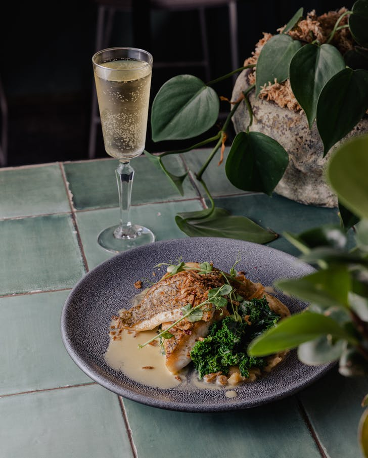 Enjoy a 2-course meal and Champagne.