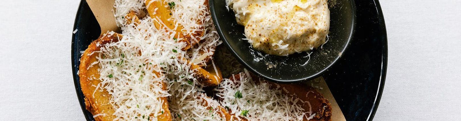 elmo's potato skins and truffle dip