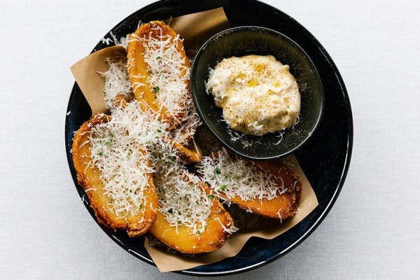 elmo's potato skins and truffle dip