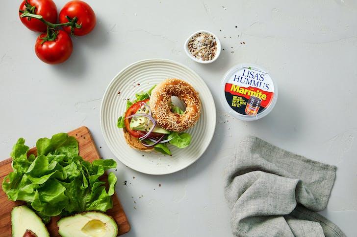 Lisa's Marmite Hummus MLT Bagel