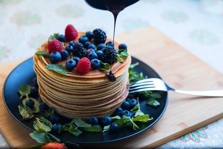 Dark chocolate and raspberry pancakes