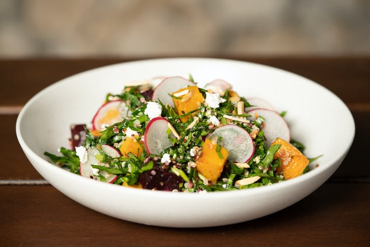 The Roast Pumpkin, beetroot, and goat's cheese salad
