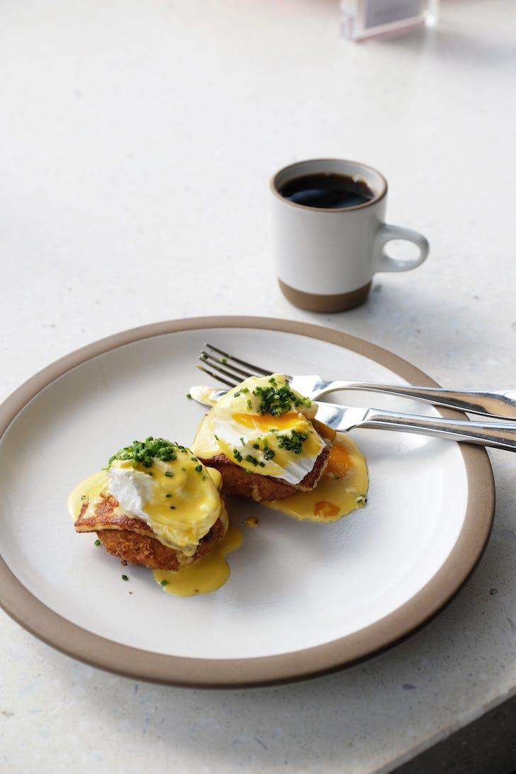 Ozone's Eggs Benedict with Halloumi