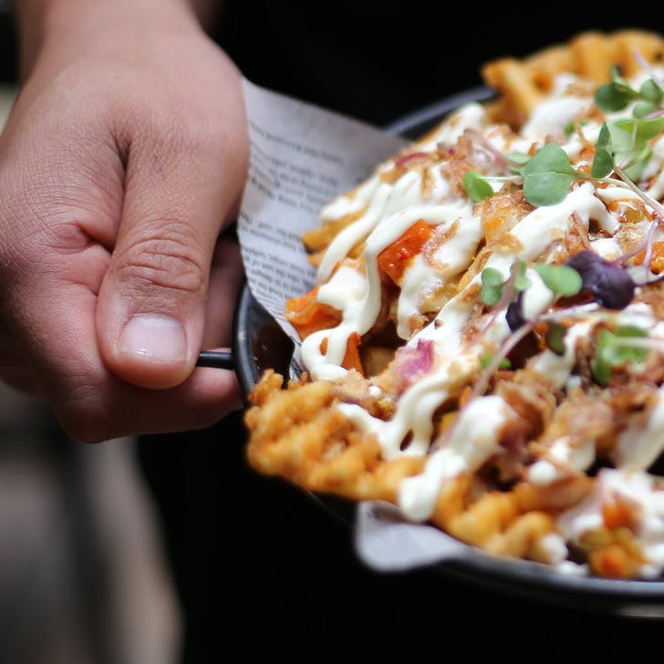 Loaded Waffle Fries from The Kimchi Project