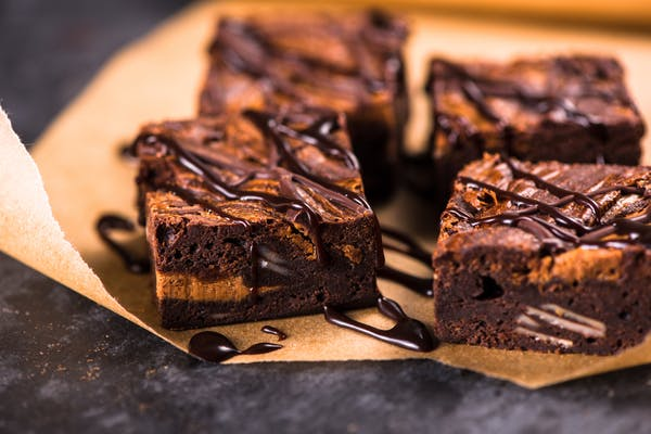 Chocolate brownie with caramel and sauce