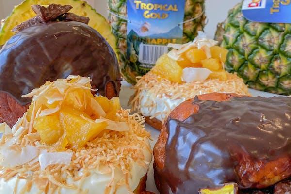 pina colada and pineapple lump donuts