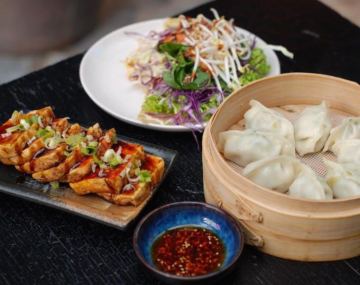 Shrimp Dumplings, Chicken Rolls, and Teppanyaki Tofu from Bo's Dumplings
