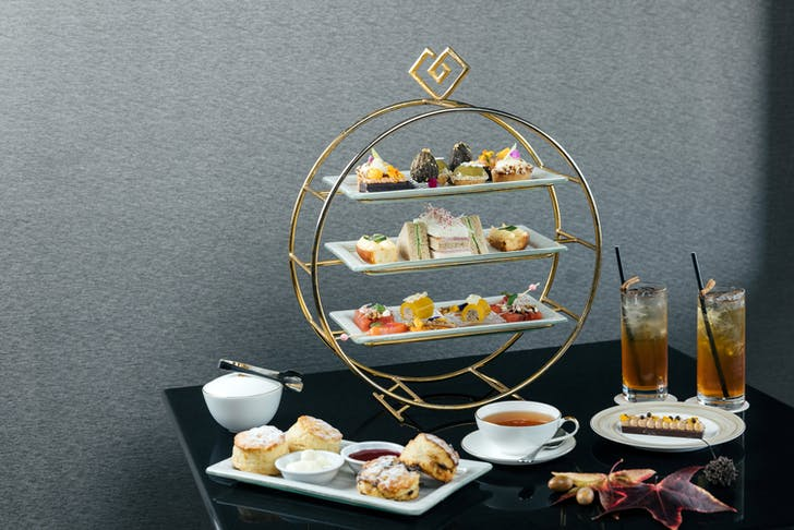 Cordis' Autumn-inspired High Tea is held under their beautiful chandelier on ground level.