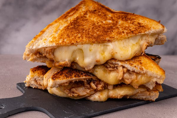 a cheese and chicken toasted sandwich