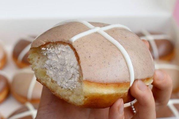 hot cross bun donut from krispy kreme