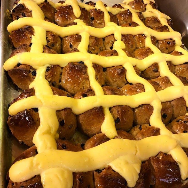 Ima Cuisine's Famous Hot Cross Buns with custard pastry cream. (Photo Source: Ima Cuisine)