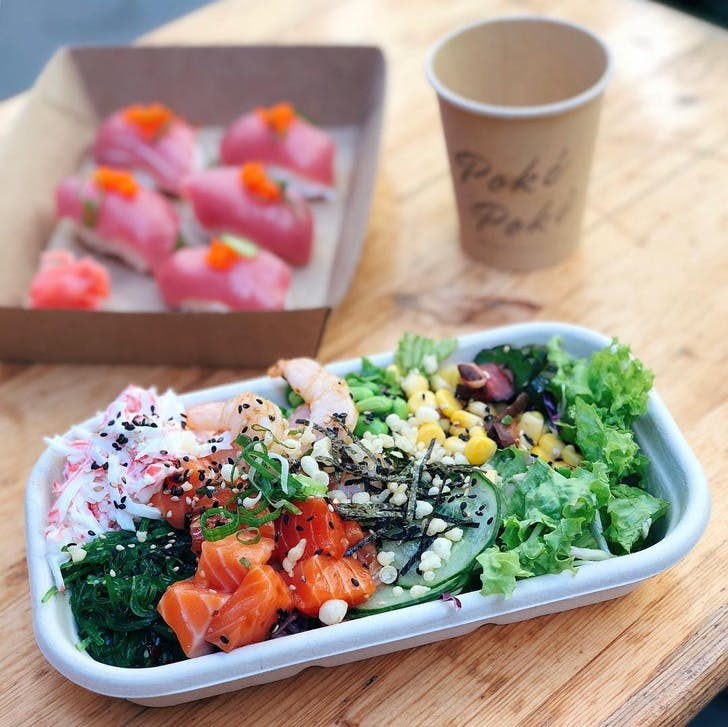 Create your own bowl at Poke Poke