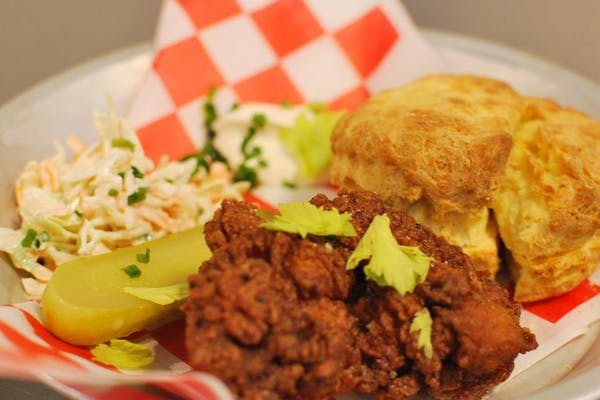 Fried chicken, coleslaw, pickles, and biscuits from The Pie Piper