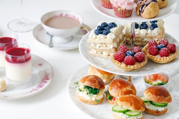 High tea on a white table