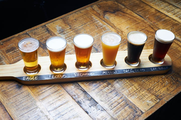 Flight of house craft beers from Deep Creek Brews and Eats