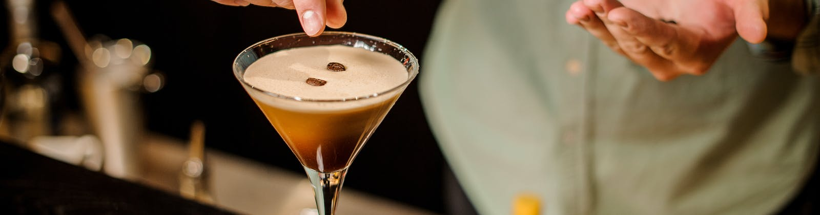 Espresso Martini being made at a restaurant bar