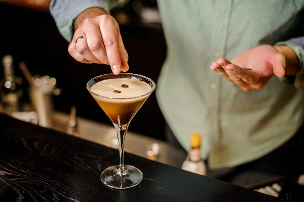 Espresso Martini being made at a restaurant bar