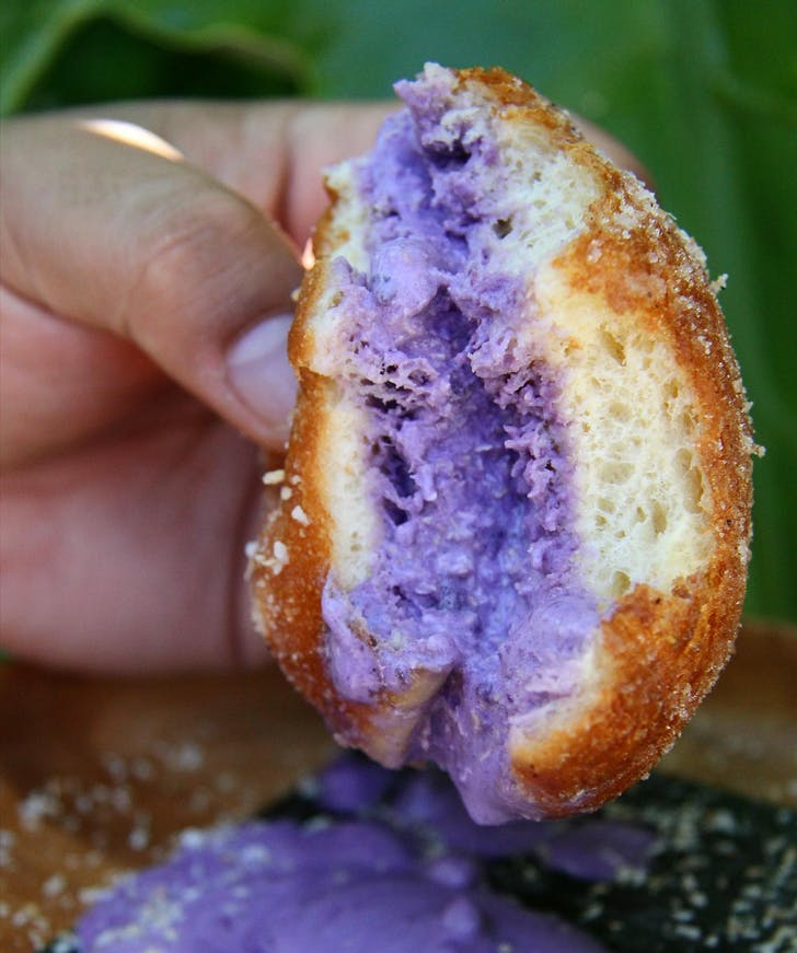 The Ube Donut combines Hapunan's Sweet Yam ice cream and a GrownUp Donut.