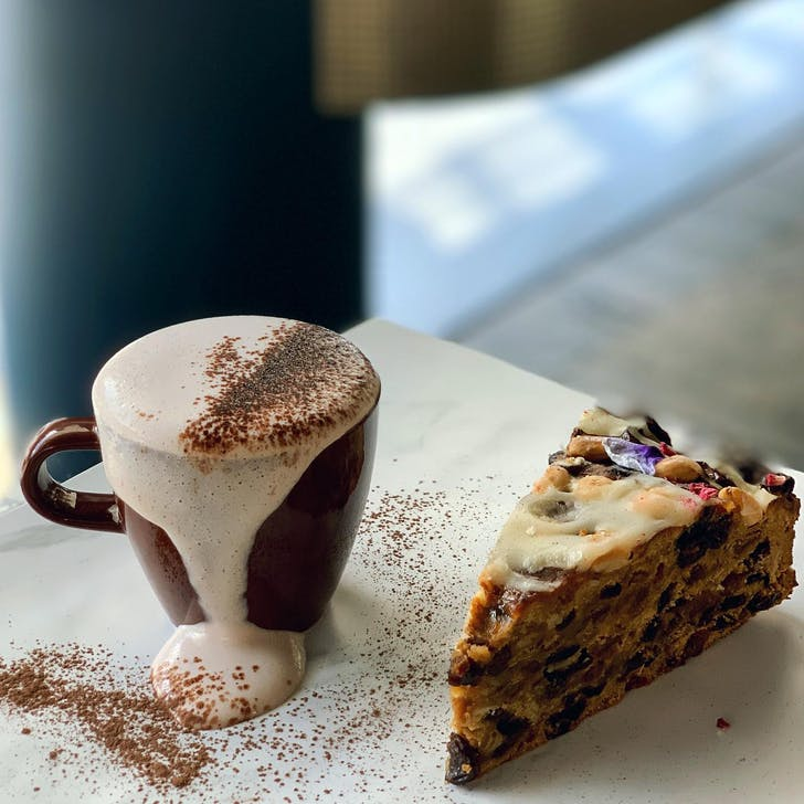 Enjoy a slice of Winona's cakes while you sip your hot choc