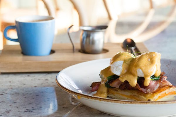 eggs benedict and coffee from the junction eatery