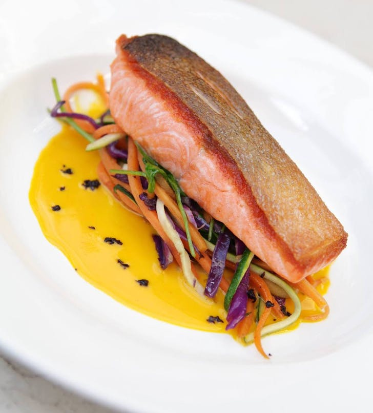 Pan roasted salmon with saffron sauce from Non Solo Pizza