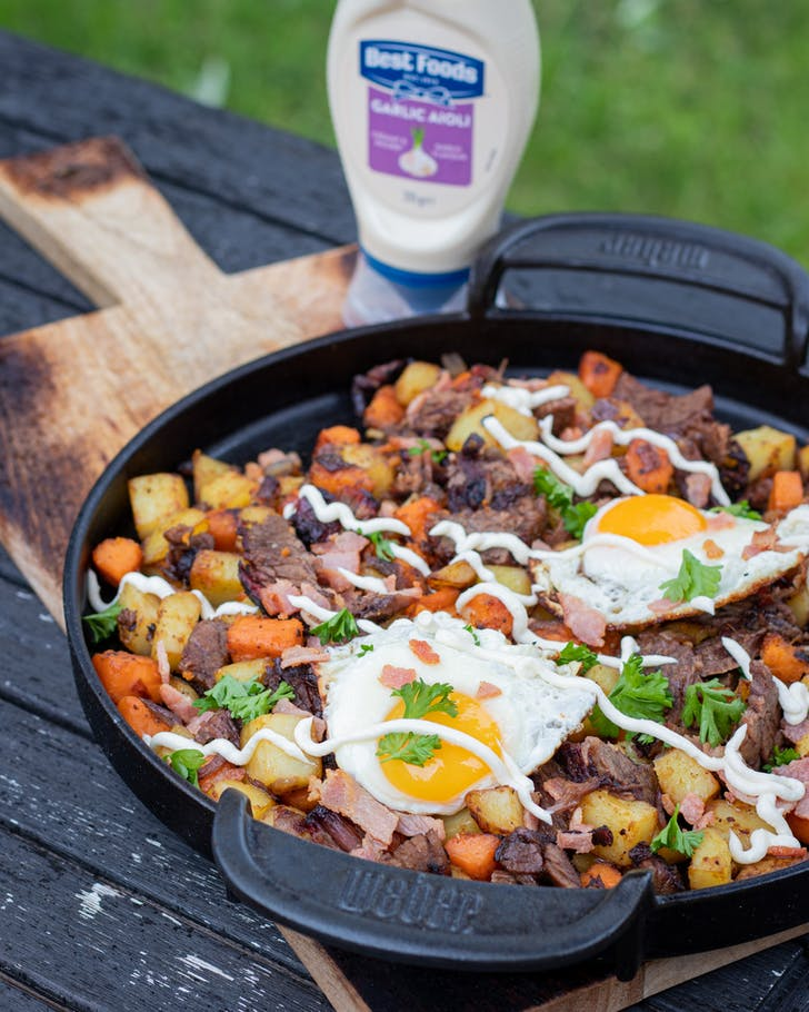 Fire & Thyme's Leftover Hash with Potato, Kumara, and Beef.