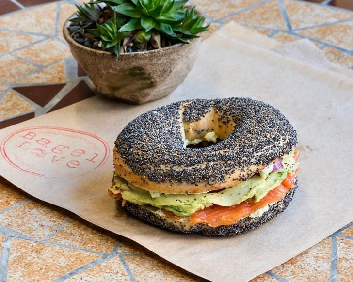 Avocado and salmon on a poppy seed bagel from Bagel Love