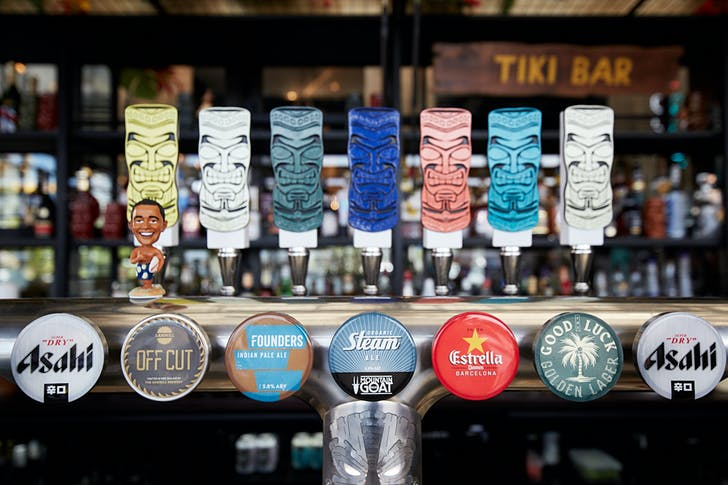 Craft beers from the Tiki Bar at The Good Luck Coconut