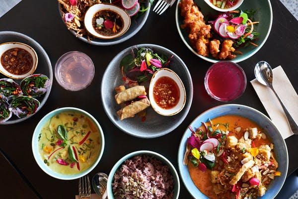 Spread of Thai food from Khu Khu Eatery
