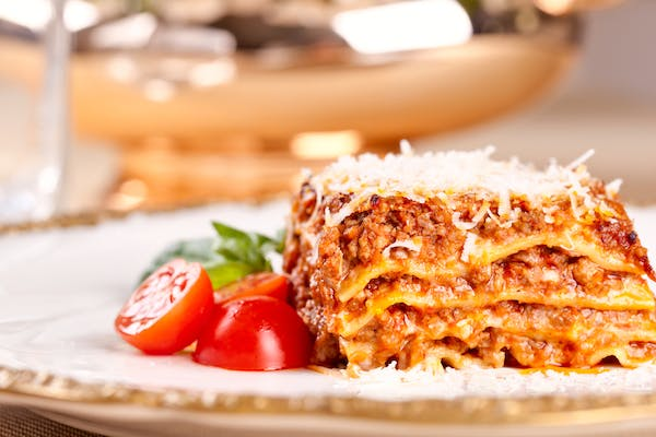 traditional lasagne on a plate