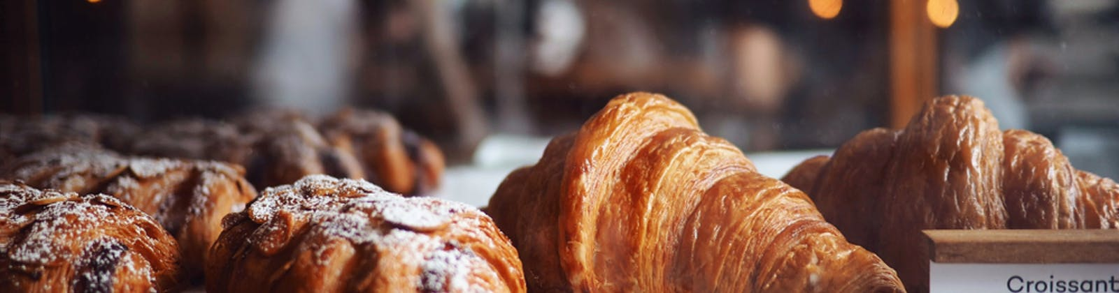 Hot croissants in oven