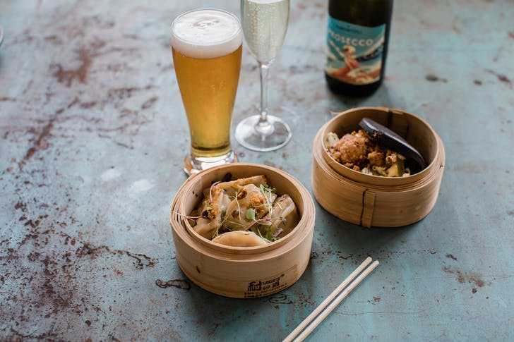 You'll be dining on fresh dumplings, cold beer, and bubbling Prosecco