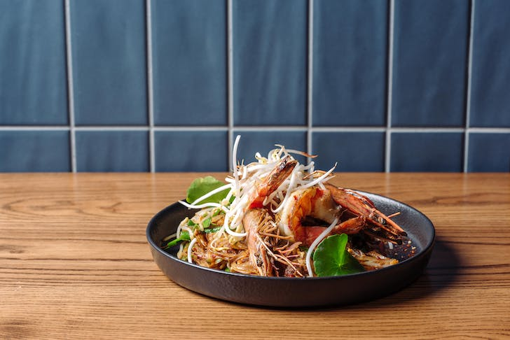 SOHO's Pad Thai, complete with prawns.
