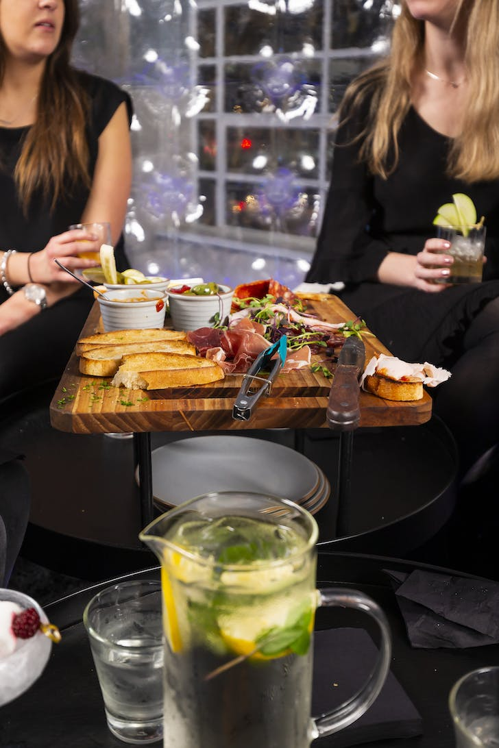 Enjoy bottomless bubbles and a delectable platter.