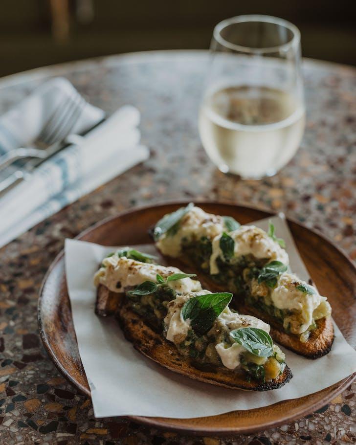Enjoy bruschetta or arancini to begin.