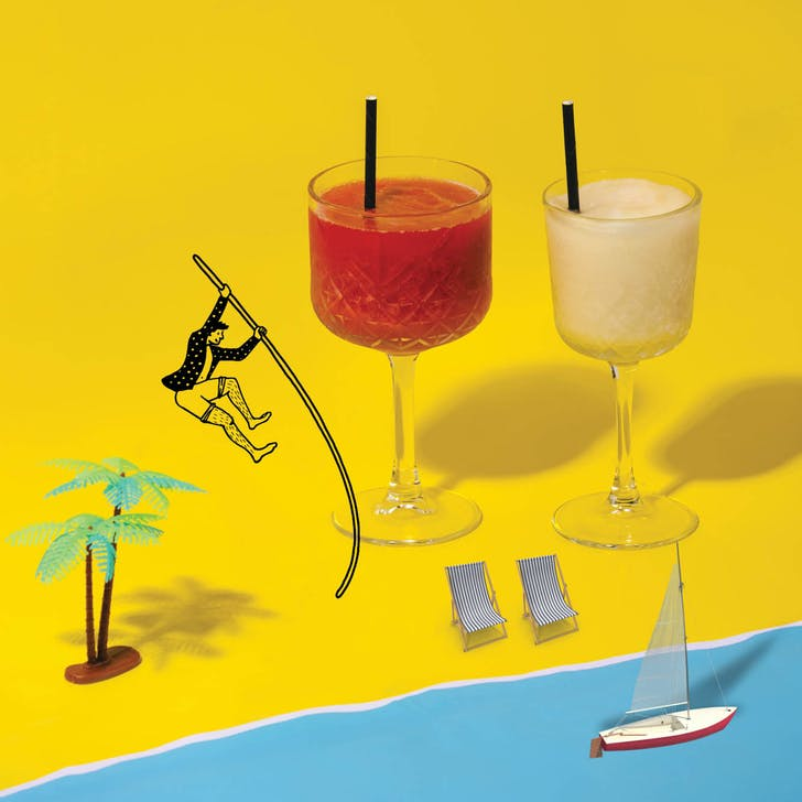 Jump into a mix of frozen margs and top it off with a candy buffet.