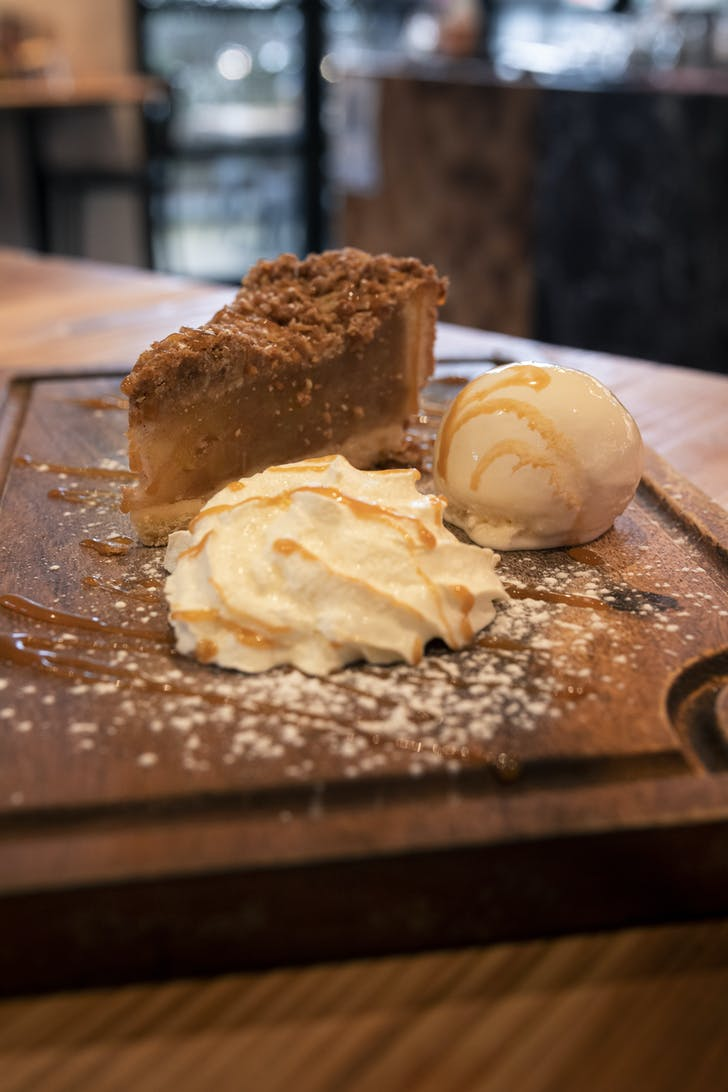 Cleaver & Co's apple pie with vanilla ice cream and caramel drizzle