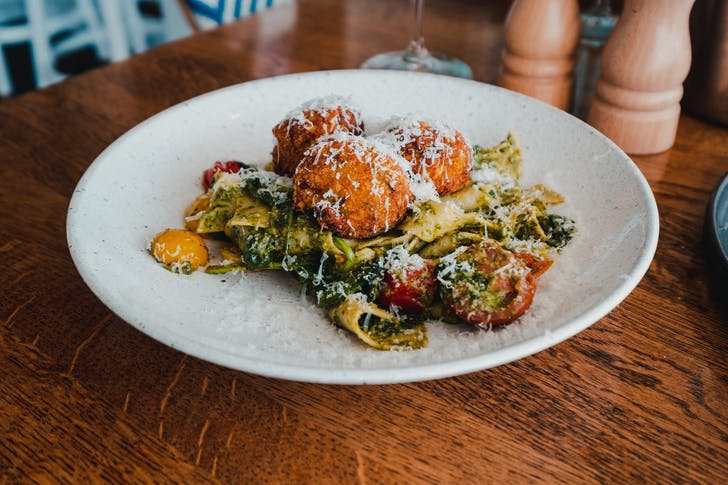 Zucchini risotto balls with pappardelle from Grangers