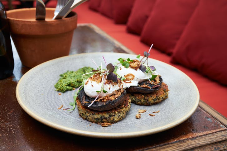 The vegetarian-friendly Gardener's Brunch with portobello mushrooms and salsa verde