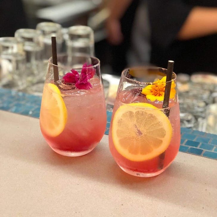 Enjoy a fruity cocktail from the tropical cocktail list