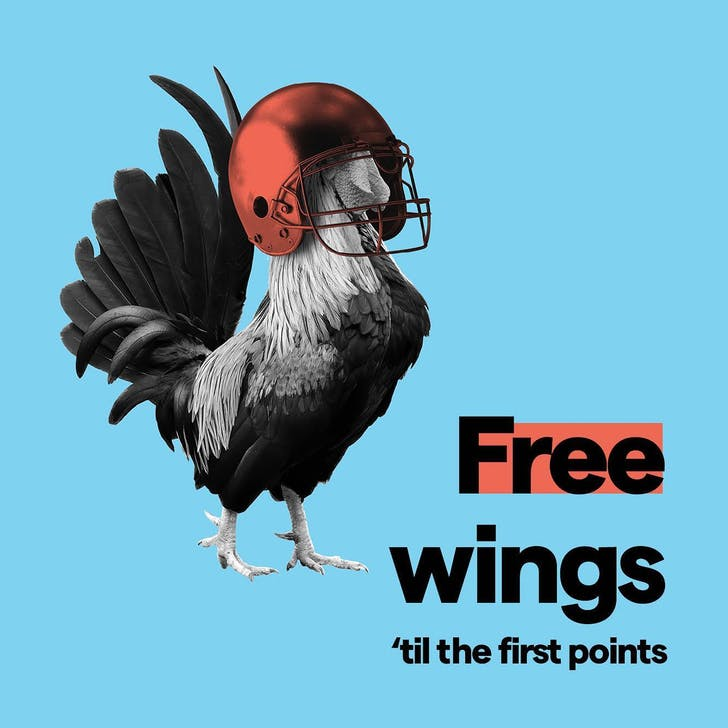 Joylab's Free wings 'til the first points.