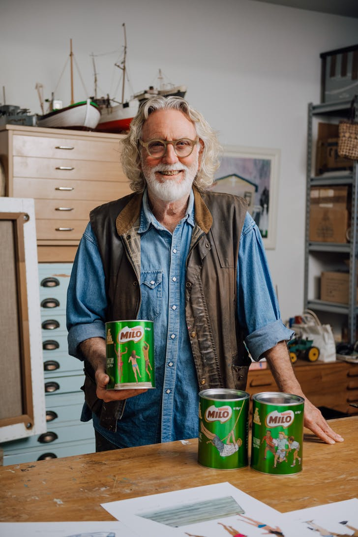 Dick Frizzell has designed three special edition MILO tins in his iconic Kiwiana style
