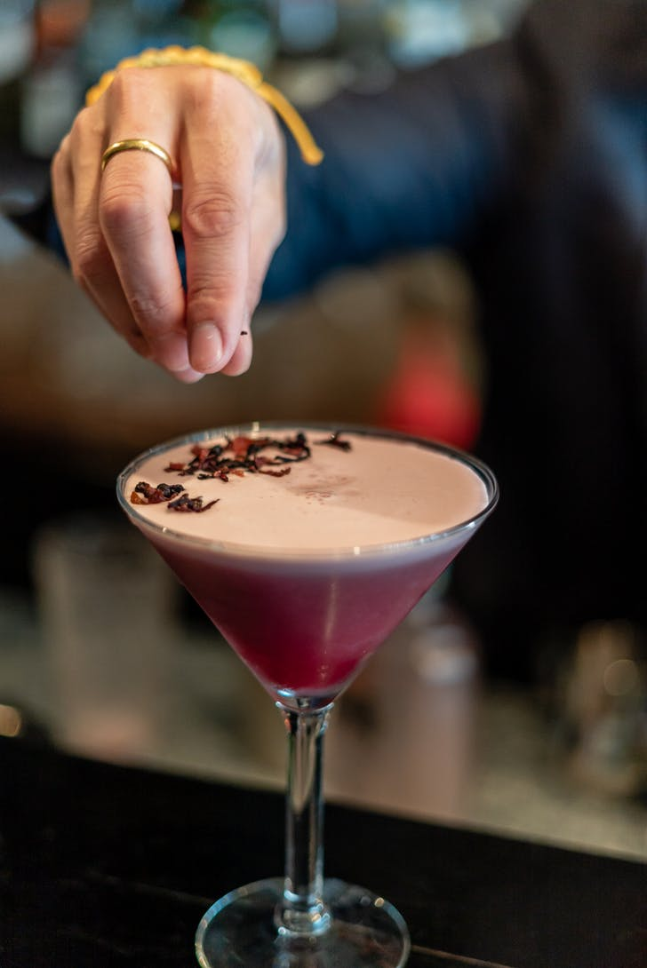 Unique cocktails complement the seasonal produce