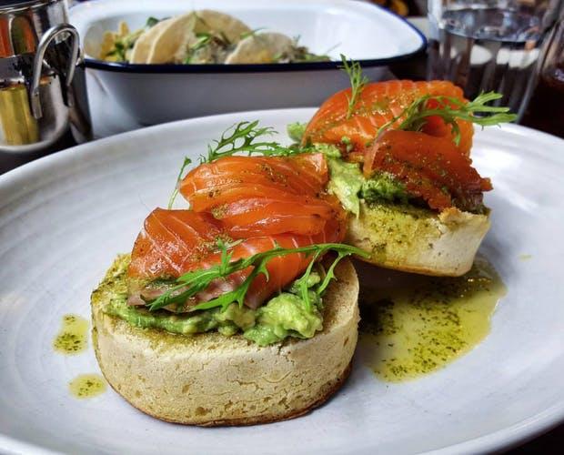Salmon & avocado crumpets from Chuffed