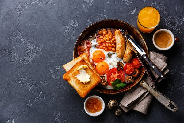 Big breakfast in a cast iron pan