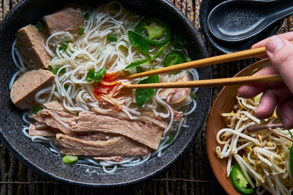 vietnamese pho with beef and noodles
