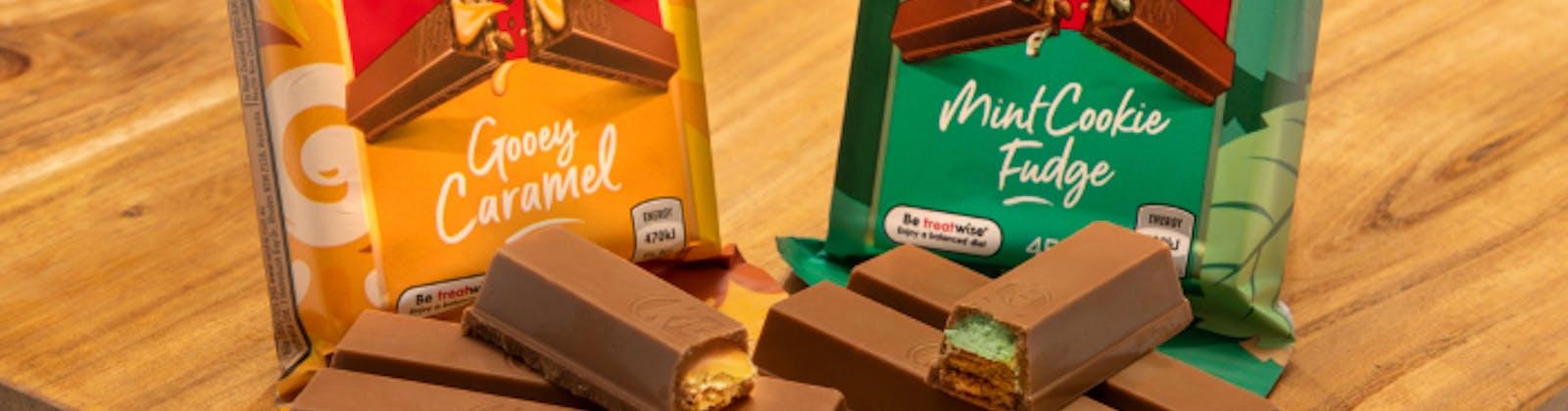 Gooey caramel and mint cookie fudge kitkats