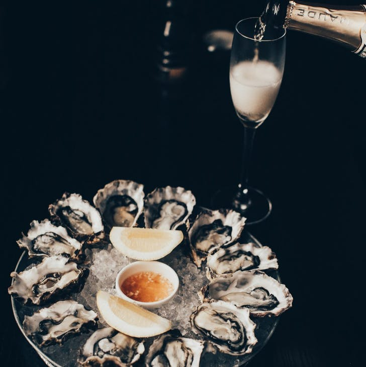 Jervois Steak House's oysters with Champagne on the side.