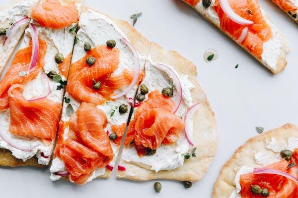 regal Marlborough king salmon flatbread